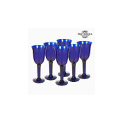 Recycled Wine Glasses (6 pcs) 350 ml Blue - Crystal Colours Kitchen Collection by Bravissima Kitchen