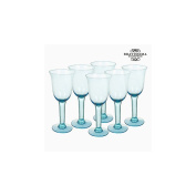 Recycled Wine Glasses (6 pcs) 500 ml Blue - Crystal Colours Kitchen Collection by Bravissima Kitchen