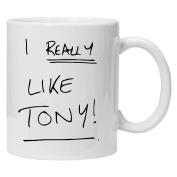 Father Ted Inspired - I really Like Tony!!! - Fun Novelty White Tea Coffee Mug 330ml Ceramic Coffee Tea Mug By Acen Studios - Perfect Valentines/Easter/Summer/Christmas/Birthday/Anniversary Gift