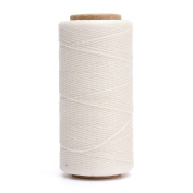 KING DO WAY 1 Spool Flat Sewing Coarse Braid Waxed Thread For Leather Craft Repair White 260m