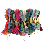 MagiDeal 50 Pieces Mixed Colours Cross Stitch Embroidery Thread Sewing Skeins Floss Kit