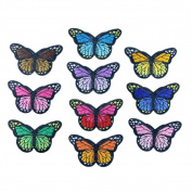 KAYI Colourful Rainbow Butterfly Handmade Chinese Embroidery Cloth Accessories DIY Cloth Embroidery Stickers Kit 10Pcs Random Mix