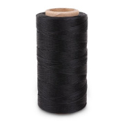 Black 260m Yards 0.8mm Leather/CANVAS Sewing Waxed Flat Thread For LeatherCraft DIY