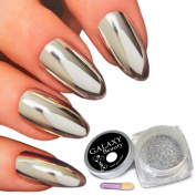Galaxy Beauty 1G Mirror Chrome Powder Silver Pigment Nail Glitter Dust Effect Shine Manicure Sponge Stick Instruction