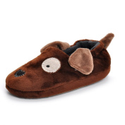 Estamico Toddler Boys' Rubber Sole Anti-skid Winter Doggy Slippers Brown 8-9 UK
