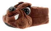 New Older Boys/Childrens Brown Bulldogs Novelty Slippers - Brown - UK SIZES 1-13