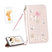 Girlyard For iPhone 5 / iPhone 5S / iPhone SE Diamond Wallet Leather Case Cover Bling Glitter Crystal PU Leather Folio Flip Stand Protective Magnetic Case Cover with Wrist Strap and Card Slots Rose Gold Butterfly Flower