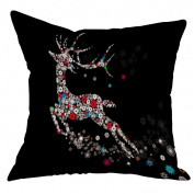 New Cotton Linen Christmas Deer Pillow Case Cushion Cover Sofa Home Car Decor,Byste Xmas Warm Heart Gift