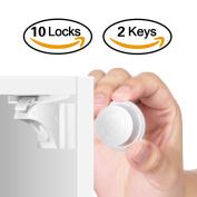 Child Safety Cupboard Locks HURRISE Magnetic Cabinet Door Lock Set Baby Proof No Drilling Design for Kitchen Drawer (3 Keys & 16 Locks)