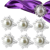 Yalulu 6Pcs Pearl Flowers Napkin Ring/Wrap Serviette Holder Wedding Banquet Party Dinner Christmas Table Decoration