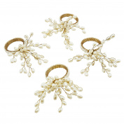 SARO LIFESTYLE Gold Spiral Faux Pearl Beaded Napkin Ring, Vanilla