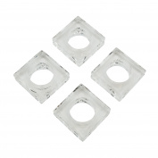 SARO LIFESTYLE Double Block Shape Glass Crystal Napkin Ring