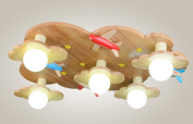 Home mall- Wooden Ceiling Light Fashion Creative European Style Children's Room Study Bedroom Decoration Light E27
