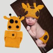 EWFSEF Lovely Handmade Giraffe Theme Woollen Crochet Set Baby Newborn Outfit Photo Prop