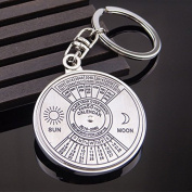 EWFSEF Fashion Creative metal 50 years compass English Calendar Keychain