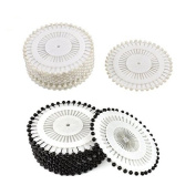 Saim Needlework Round Faux Pearl Head Pins for Dressmaking Sewing Craft Wedding Decoration--- Black & White, 960 Pieces
