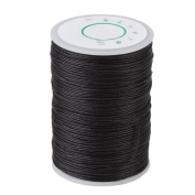Black 0.6mm Dia Leather Craft Hand Work Sewing DIY Round Waxed Wax String Linen Stitching Thread Cord