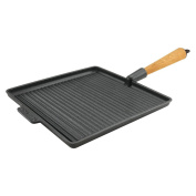 Carl Victor 28cm Pre-Seasoned Cast Iron Square Griddle Pan with Beech Wood Handle