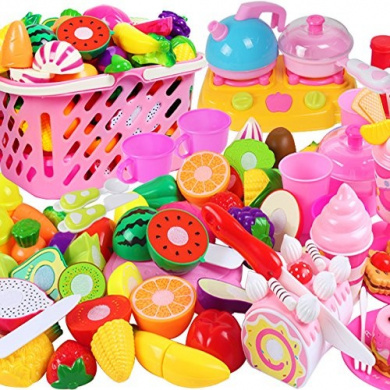 DaoRier 48Pcs Education Kitchen Toys Cutting Toys Fruit and Vegetable Basket for Children