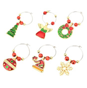 Wine Glass Charms Rings Marker 6PCS Christmas Party Bar Table Decorations