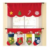 Christmas Curtain Valance, Outgeek 2Pcs Christmas Decorative Window Curtain Valance