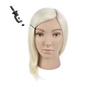 36cm 100% Human Hair Cosmetology Mannequin Manikin Training Head with Human Hair