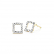 Mateo NYC Women's 14ct Yellow Gold Round White Diamonds Mini Square Stud Earrings