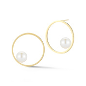 Mateo NYC Women's 14ct Yellow Gold Round White Pearls Circling Stud Earrings