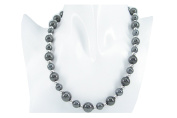 """18"""" 50cm Round 8mm with 5mm Black Titanium Beads 2mm Silver Balls Necklace Present"""