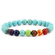 Womens 8mm Agate Turquoise 7 Chakra Bead Healing Bracelet 7.5 Inch