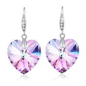Heart Crystal Earrings for Women Christmas Gift Birthstone Jewellery Rhodium Plated Purple