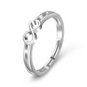 YFN 925 Sterling Silver Infinite Love Simple-Open Adjustable Rings for Womens