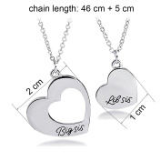Big Sis Middle Sis Little Sis Love Heart Necklace Set for Sister Best Friends
