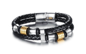 good. Designs Genuine Leather Men's Bracelet in Black with Silver Titanium Pearl Bracelet with Magnetic Clasp for easy fixing