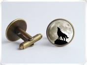 Howling wolf cufflinks Grey moon Animal jewellery Moon jewellery