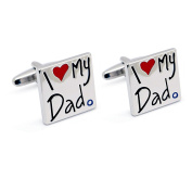 """Hanana Cufflinks for Men Shirt,Stainless Steel ,""""I Love My Dad"""", Square Shape for Father's Day ,Xmas Gift"""