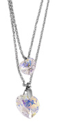 Akzent Anchor Heart Scroll Women's Stainless Steel Necklace Twist Chain, Colour Silver, Length 45 cm + 5 cm extender