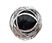 Gorgeous Large Celtic Knot Brooch Pin in Antiqued Silver tone and Black Women's Gift