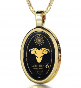 Zodiac Pendant Capricorn Necklace Inscribed in 24k Gold on Onyx Stone, 46cm - NanoStyle Jewellery