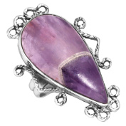 Solid 925 Sterling Silver Modern Jewellery Natural Chevron Amethyst Gemstone Ring Size J 1/2