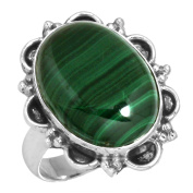 Natural Malachite Gemstone Collectible Jewellery Solid 925 Sterling Silver Ring Size M