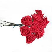 Oxforder 10Pcs ArtificiThel Flower FoThem Rose Wedding BridesmTheid BridThel Bouquet PTherty Decor Red & Themp;5.5Cm