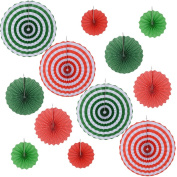 12pcs Round Wheel Fiesta Colourful Paper Fans For Home & Party,Event Decoration