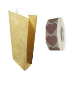 25 Kraft Paper Bags, fully lined interior White Paper, size 7 x 22 cms with Label Heart Closure