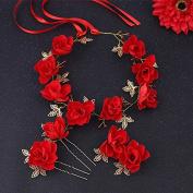 MDRW-Bride Wedding Prom Hair Pins The Newwith N Dress Headdress Red Flowers Flower Headbandaccessories Toast Clothing Accessories