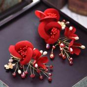 MDRW-Bride Wedding Prom Hair Pins Thehand Beaded Headdress Red Hair Clip Edge N Marriage Flower Head Hair Dress Clothing Accessories Toast