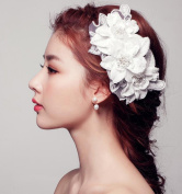 MDRW-Bride Wedding Prom Hair Pins Theheaddress Lace Flower Ornaments Pearl Tiara N Red Flower Jewellery Accessories