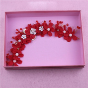 MDRW-Bride Wedding Prom Hair Pins Jewellery Handmade Lace Flower Nwreath Headdress Hair Ornaments Red Suit Accessories