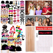 58 Pcs Paper DIY Funny Photo Booth Props Moustache Hat Lips On Stick for Christmas Xmas Weddings Birthday Party Dress Up Photography Kit