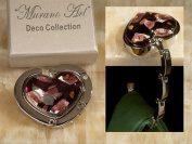 Murano Art Deco Collection Heart Folding Hand Bag Holder Hook
